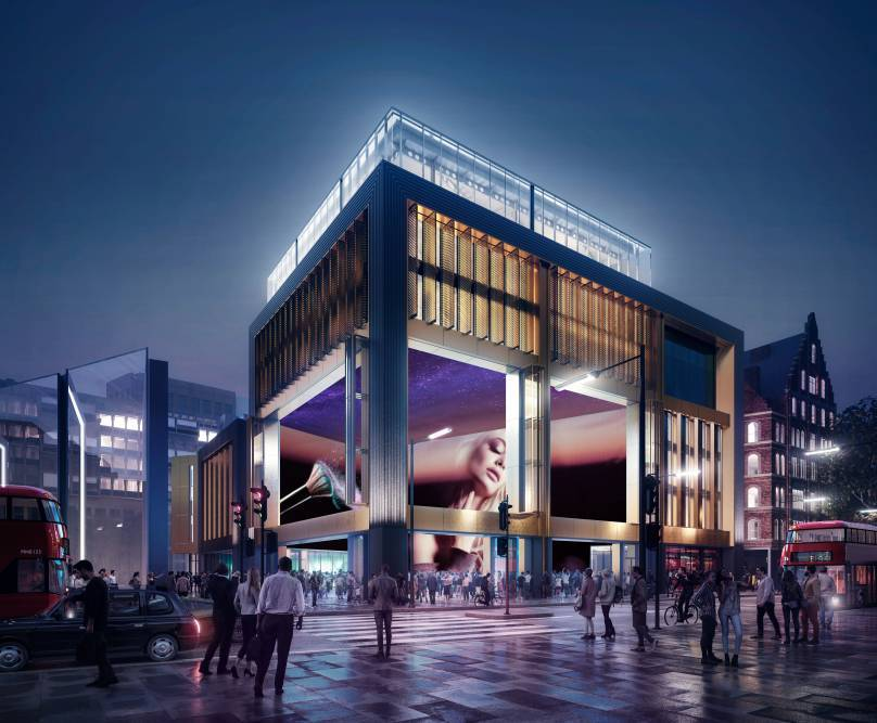 A mockup of what Outernet London will look like from street level