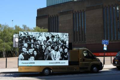 Advertising and Brand Design students on mobile exhibition by the Tate Britain